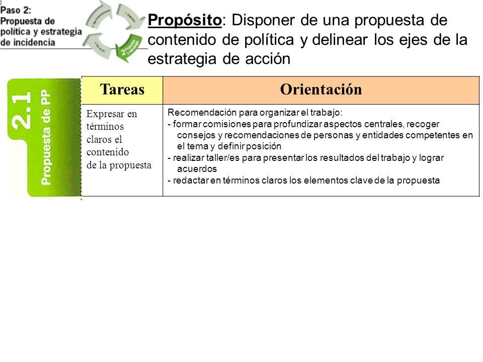 Propósito: Disponer de una propuesta de contenido de política y delinear los ejes de la estrategia de acción TareasOrientación Expresar en términos cl