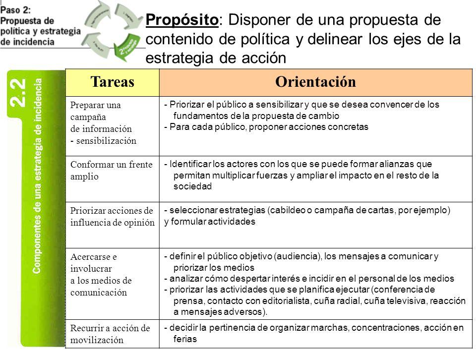 Propósito: Disponer de una propuesta de contenido de política y delinear los ejes de la estrategia de acción TareasOrientación Preparar una campaña de