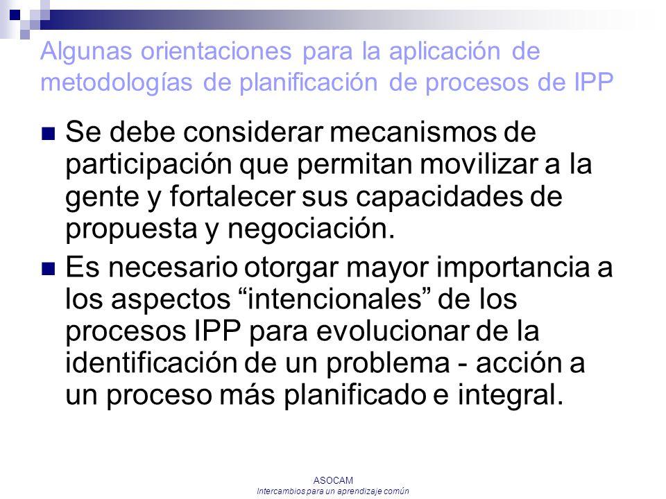 ASOCAM Intercambios para un aprendizaje común Algunas orientaciones para la aplicación de metodologías de planificación de procesos de IPP Se debe con