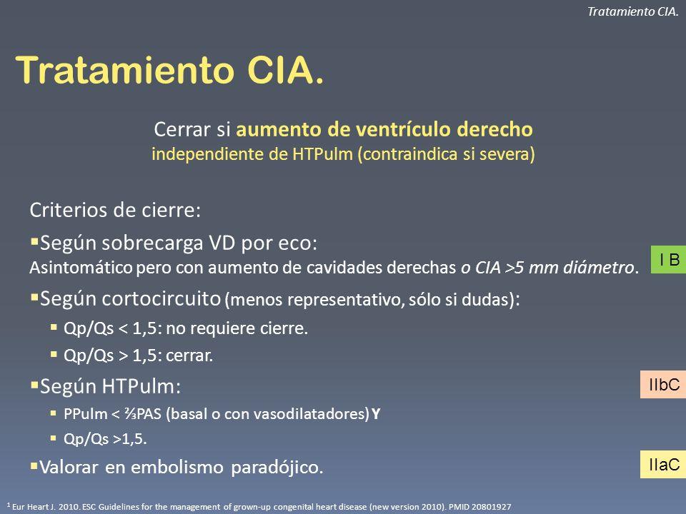Tratamiento CIA. Cerrar si aumento de ventrículo derecho independiente de HTPulm (contraindica si severa) Criterios de cierre: Según sobrecarga VD por
