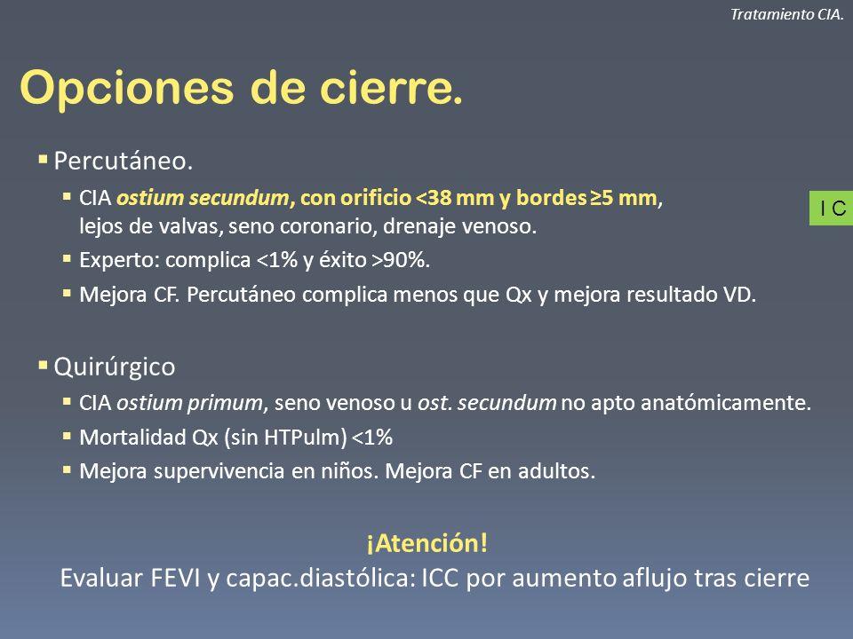 Opciones de cierre. Percutáneo. CIA ostium secundum, con orificio <38 mm y bordes 5 mm, lejos de valvas, seno coronario, drenaje venoso. Experto: comp