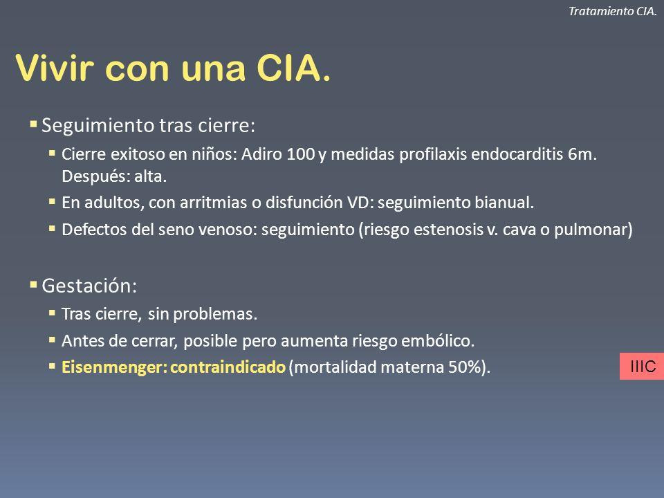 Vivir con una CIA. Seguimiento tras cierre: Cierre exitoso en niños: Adiro 100 y medidas profilaxis endocarditis 6m. Después: alta. En adultos, con ar