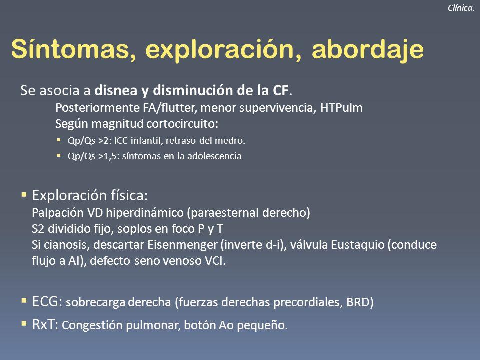 Síntomas, exploración, abordaje Se asocia a disnea y disminución de la CF. Posteriormente FA/flutter, menor supervivencia, HTPulm Según magnitud corto