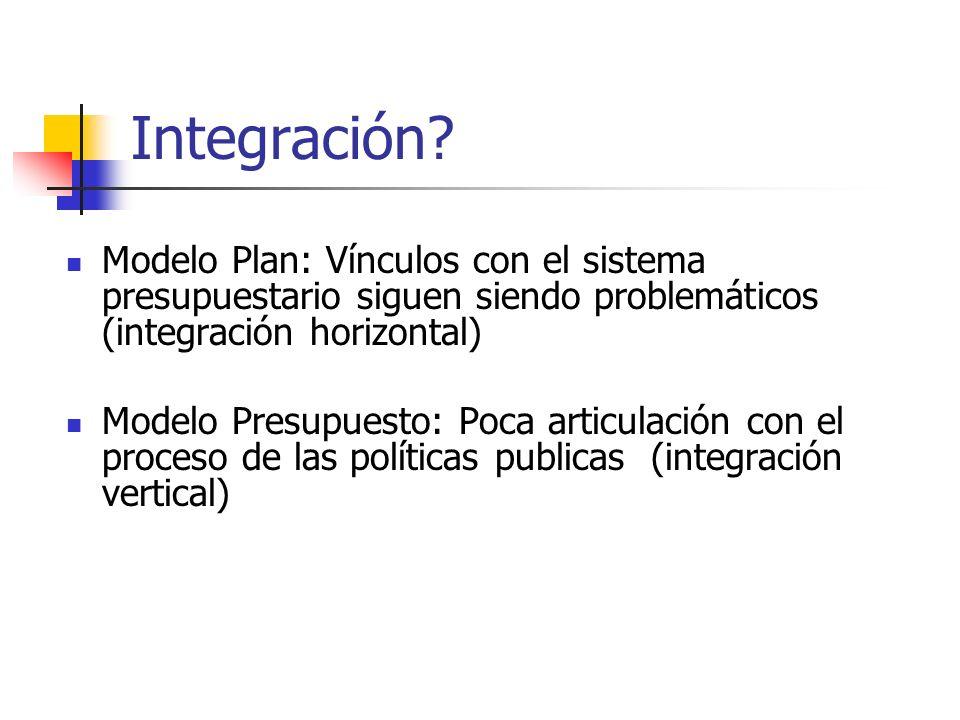 Integración? Modelo Plan: Vínculos con el sistema presupuestario siguen siendo problemáticos (integración horizontal) Modelo Presupuesto: Poca articul
