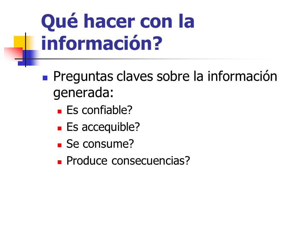Qué hacer con la información? Preguntas claves sobre la información generada: Es confiable? Es accequible? Se consume? Produce consecuencias?