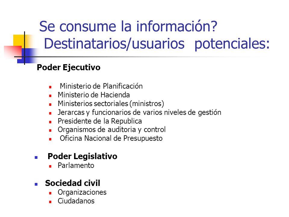 Se consume la información? Destinatarios/usuarios potenciales: Poder Ejecutivo Ministerio de Planificación Ministerio de Hacienda Ministerios sectoria