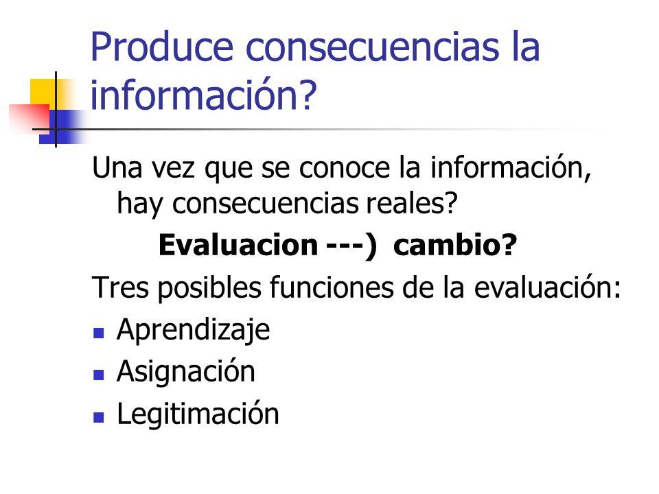 Produce consecuencias la información? Una vez que se conoce la información, hay consecuencias reales? Evaluacion ---) cambio? Tres posibles funciones