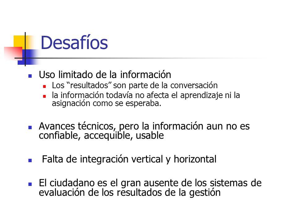 Desafíos Uso limitado de la información Los resultados son parte de la conversación la información todavía no afecta el aprendizaje ni la asignación c