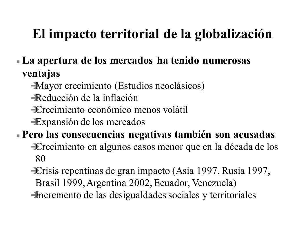 El impacto territorial de la globalización n La apertura de los mercados ha tenido numerosas ventajas è Mayor crecimiento (Estudios neoclásicos) è Red