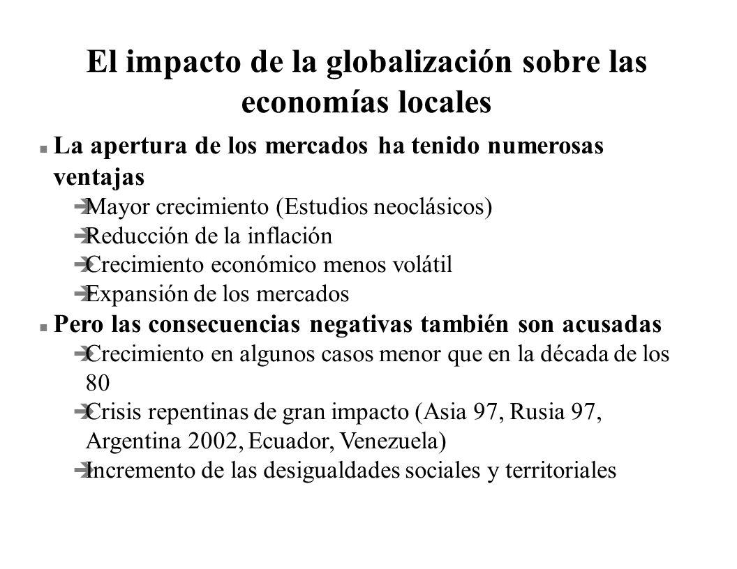 El impacto de la globalización sobre las economías locales n La apertura de los mercados ha tenido numerosas ventajas è Mayor crecimiento (Estudios ne