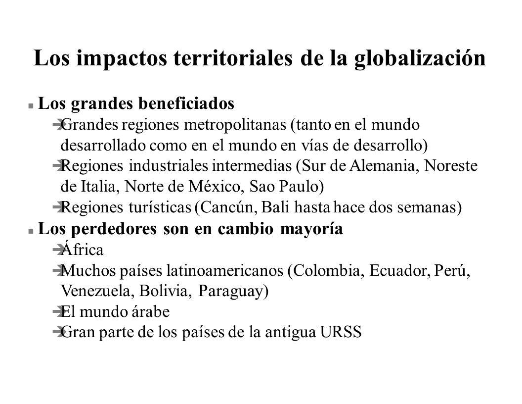 Los impactos territoriales de la globalización n Los grandes beneficiados è Grandes regiones metropolitanas (tanto en el mundo desarrollado como en el