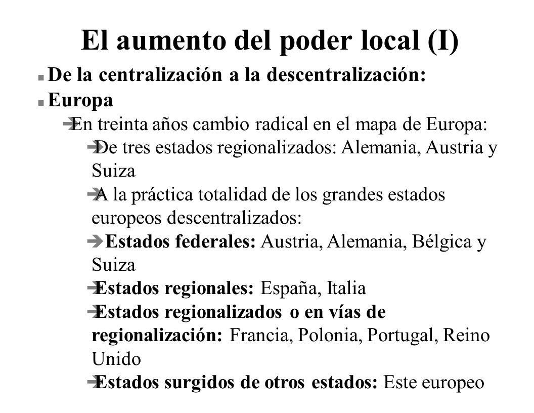 El aumento del poder local (I) n De la centralización a la descentralización: n Europa è En treinta años cambio radical en el mapa de Europa: è De tre