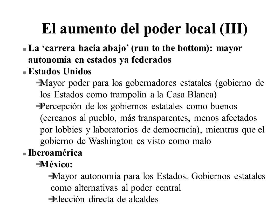 El aumento del poder local (III) n La carrera hacia abajo (run to the bottom): mayor autonomía en estados ya federados n Estados Unidos è Mayor poder