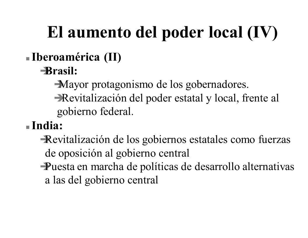 El aumento del poder local (IV) n Iberoamérica (II) è Brasil: è Mayor protagonismo de los gobernadores. è Revitalización del poder estatal y local, fr