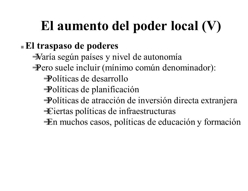 El aumento del poder local (V) n El traspaso de poderes è Varía según países y nivel de autonomía è Pero suele incluir (mínimo común denominador): è P