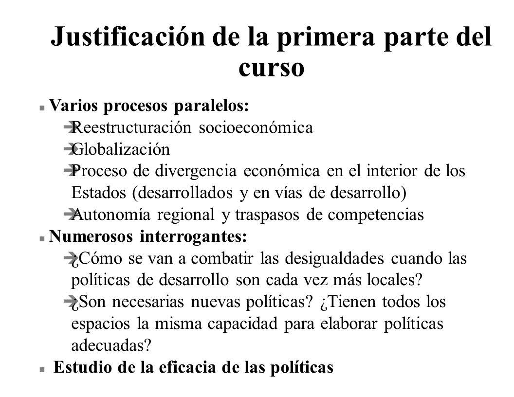 Justificación de la primera parte del curso n Varios procesos paralelos: è Reestructuración socioeconómica è Globalización è Proceso de divergencia ec