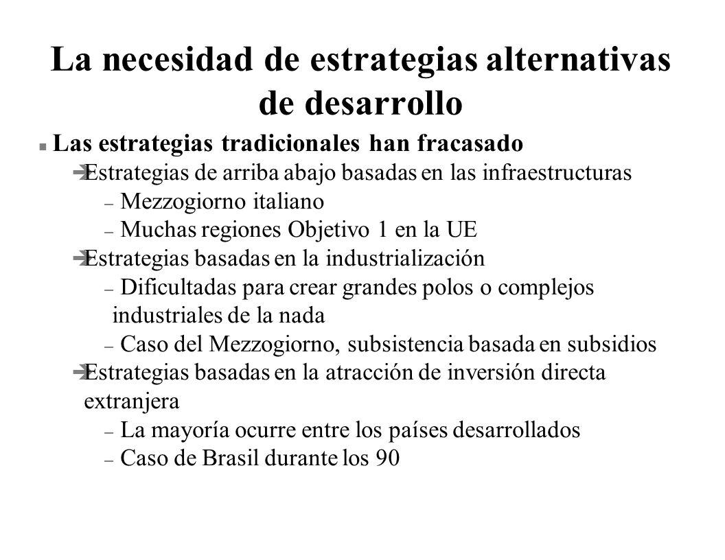 La necesidad de estrategias alternativas de desarrollo n Las estrategias tradicionales han fracasado è Estrategias de arriba abajo basadas en las infr