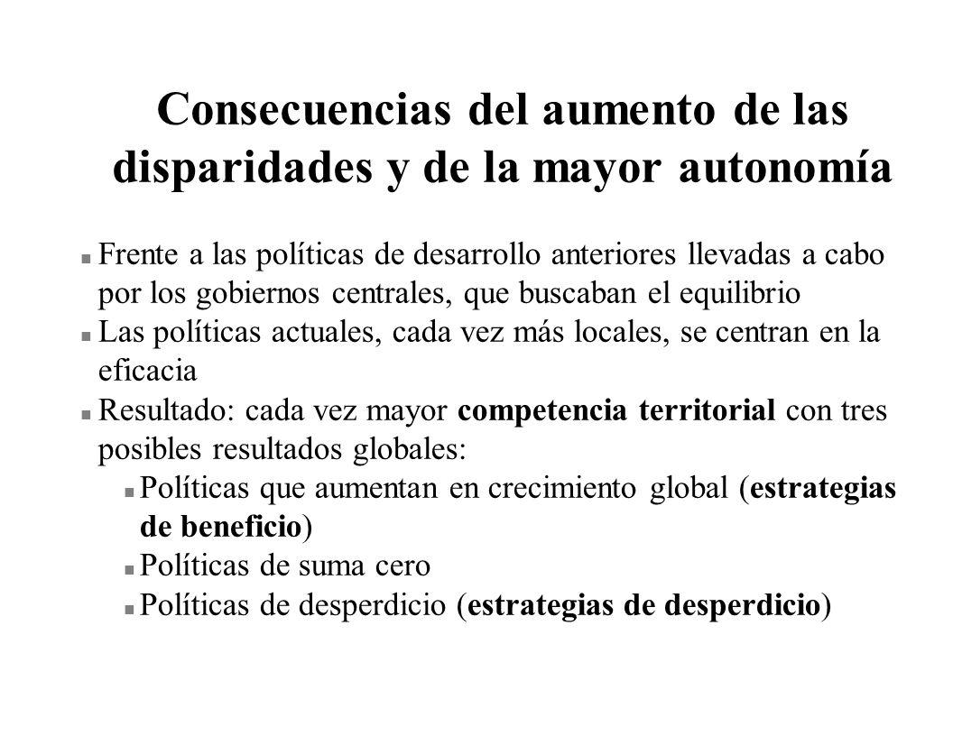 Consecuencias del aumento de las disparidades y de la mayor autonomía n Frente a las políticas de desarrollo anteriores llevadas a cabo por los gobier
