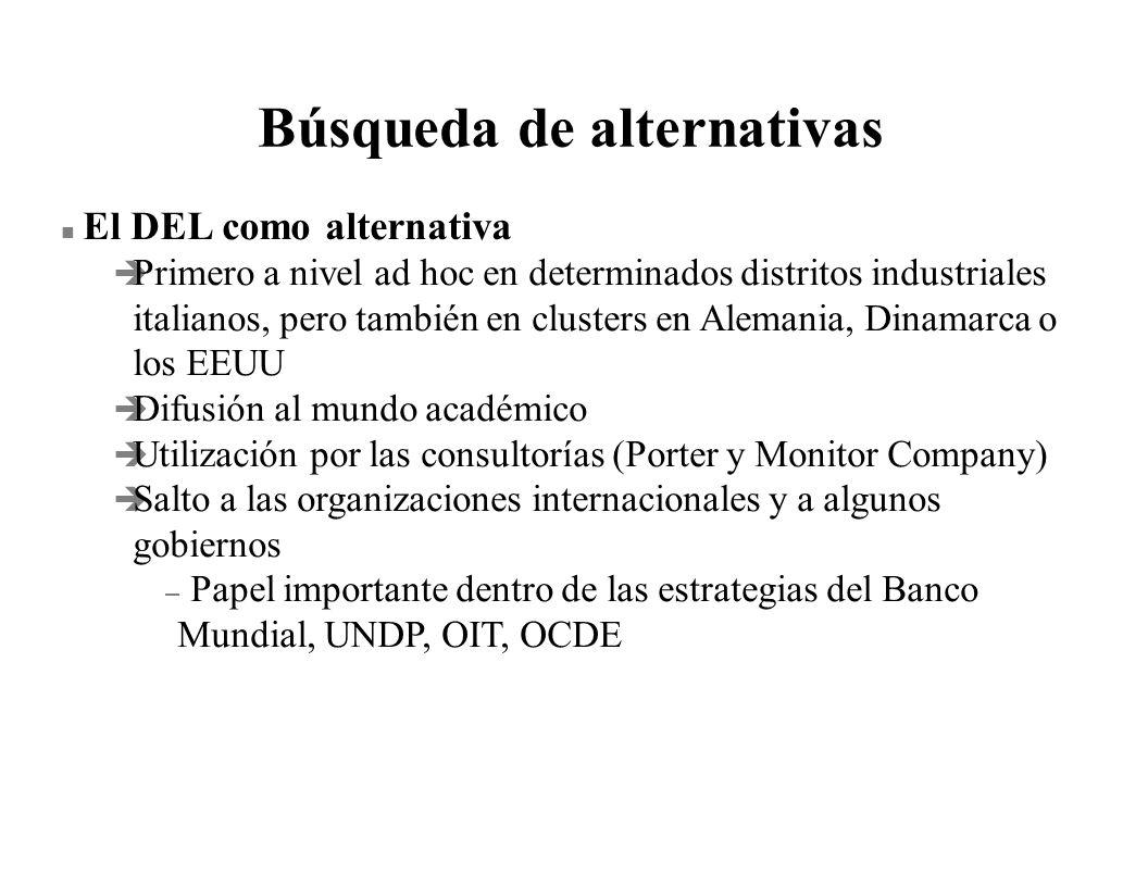 Búsqueda de alternativas n El DEL como alternativa è Primero a nivel ad hoc en determinados distritos industriales italianos, pero también en clusters