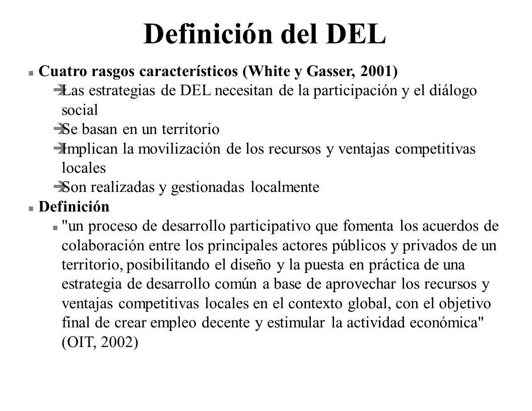 Definición del DEL n Cuatro rasgos característicos (White y Gasser, 2001) è Las estrategias de DEL necesitan de la participación y el diálogo social è