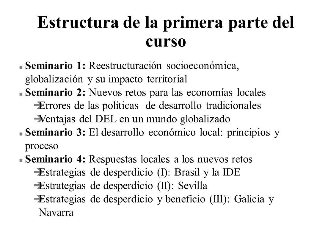 Estructura de la primera parte del curso n Seminario 1: Reestructuración socioeconómica, globalización y su impacto territorial n Seminario 2: Nuevos