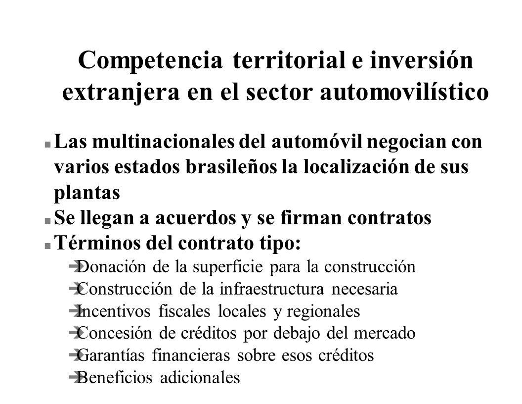 Competencia territorial e inversión extranjera en el sector automovilístico n Las multinacionales del automóvil negocian con varios estados brasileños