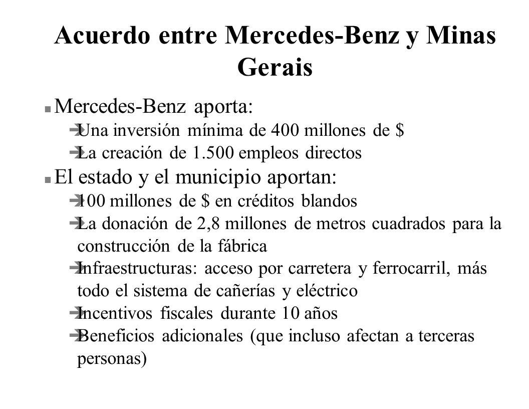 Acuerdo entre Mercedes-Benz y Minas Gerais n Mercedes-Benz aporta: è Una inversión mínima de 400 millones de $ è La creación de 1.500 empleos directos