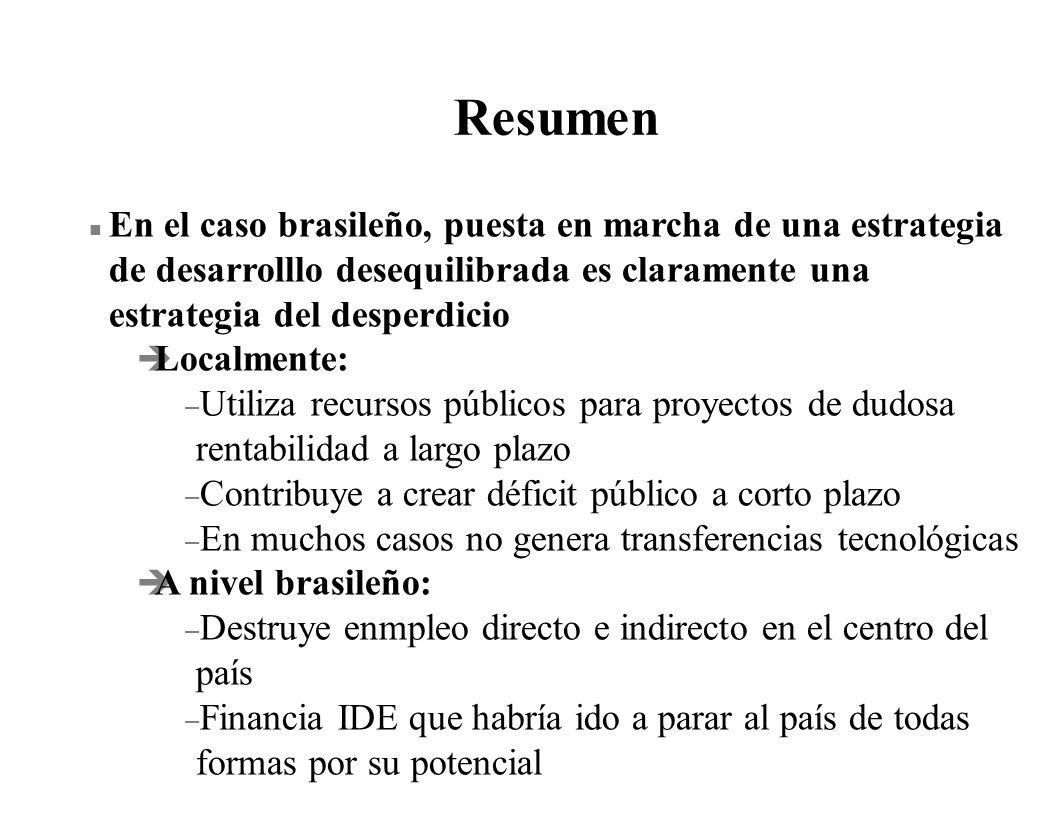 Resumen n En el caso brasileño, puesta en marcha de una estrategia de desarrolllo desequilibrada es claramente una estrategia del desperdicio è Localm