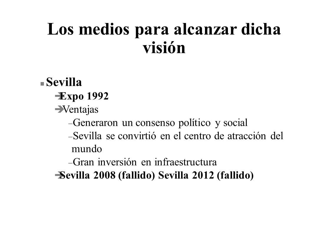 Los medios para alcanzar dicha visión n Sevilla è Expo 1992 è Ventajas – Generaron un consenso político y social – Sevilla se convirtió en el centro d
