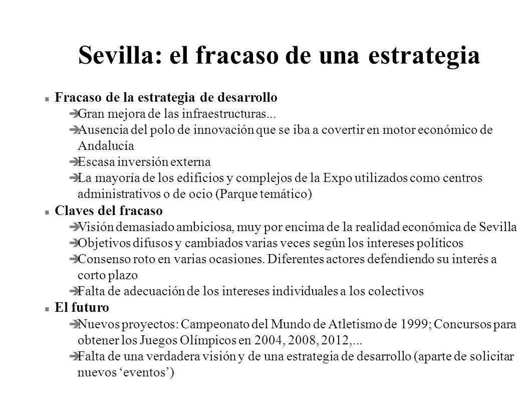 Sevilla: el fracaso de una estrategia n Fracaso de la estrategia de desarrollo è Gran mejora de las infraestructuras... è Ausencia del polo de innovac