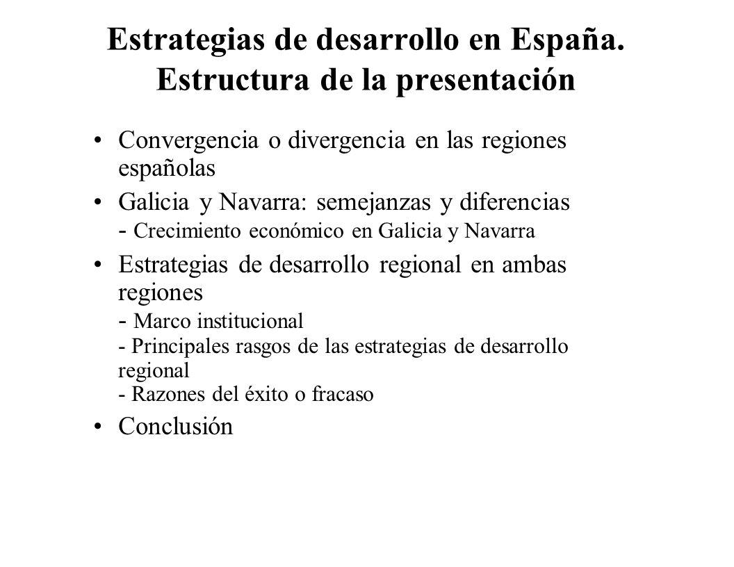 Estrategias de desarrollo en España. Estructura de la presentación Convergencia o divergencia en las regiones españolas Galicia y Navarra: semejanzas
