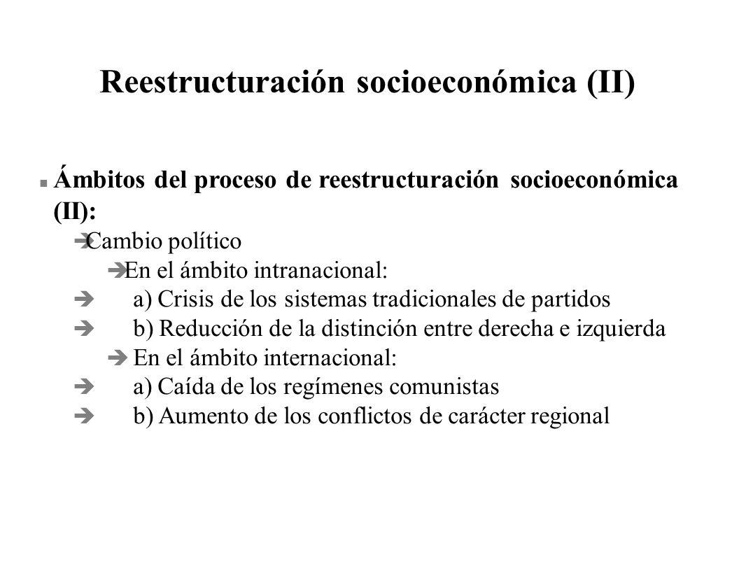 Reestructuración socioeconómica (II) Ámbitos del proceso de reestructuración socioeconómica (II): è Cambio político è En el ámbito intranacional: è a)