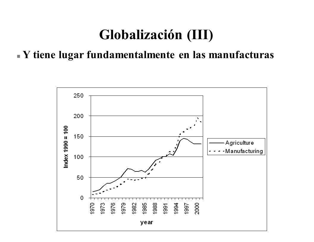 Globalización (III) n Y tiene lugar fundamentalmente en las manufacturas