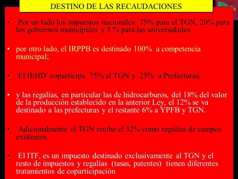 Por un lado los impuestos nacionales: 75% para el TGN, 20% para los gobiernos municipales y 5 % para las universidades por otro lado, el IRPPB es dest