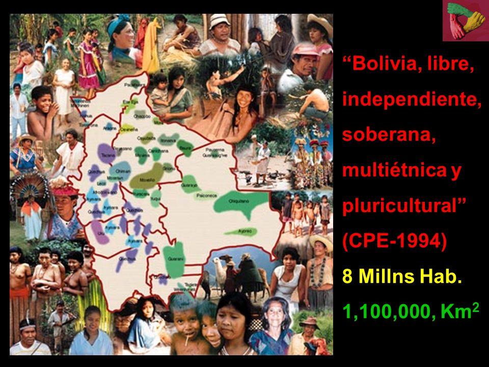 Bolivia, libre, independiente, soberana, multiétnica y pluricultural (CPE-1994) 8 Millns Hab. 1,100,000, Km 2