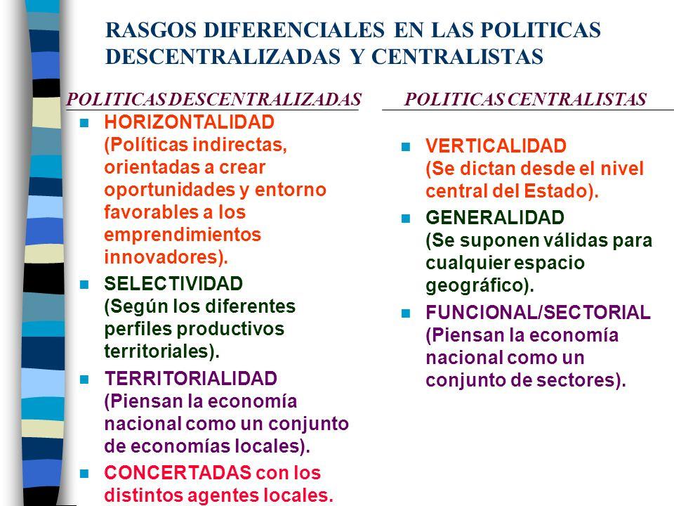 NUEVOS EJES ESTRATÉGICOS DE LA POLÍTICA ECONÓMICA TERRITORIAL Importancia de las INNOVACIONES TECNOLOGICAS Y DE GESTION y de su difusión en la base pr