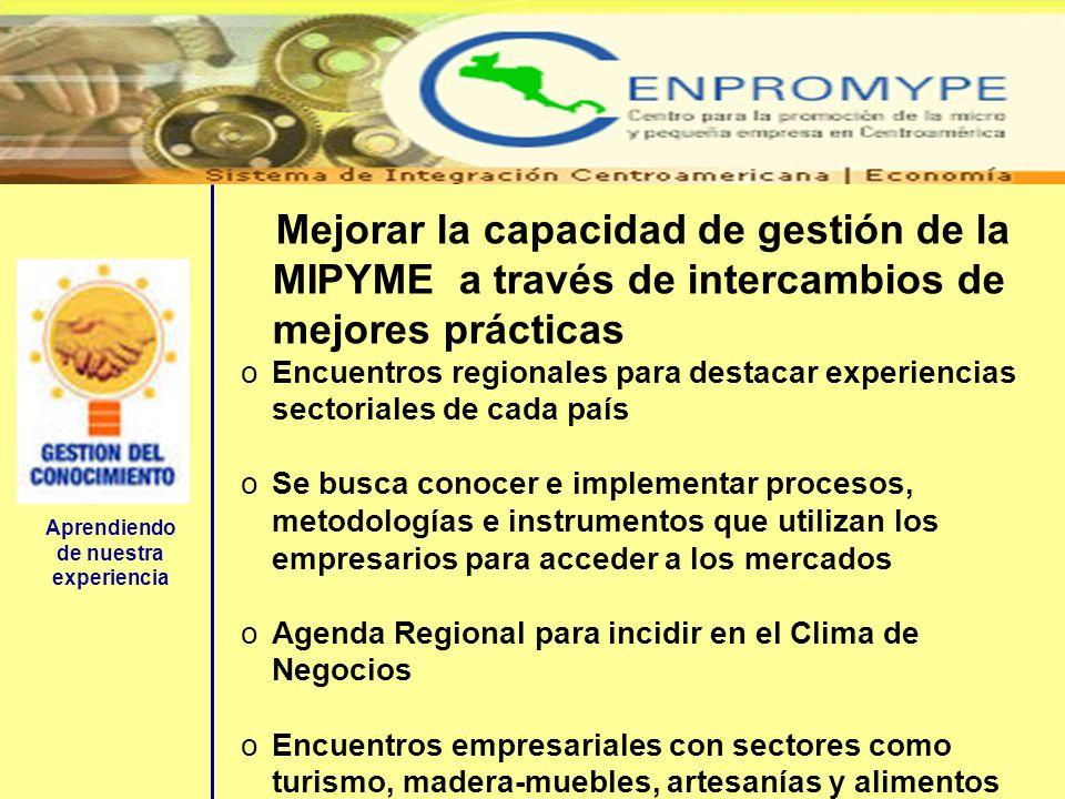 Aprendiendo de nuestra experiencia Mejorar la capacidad de gestión de la MIPYME a través de intercambios de mejores prácticas oEncuentros regionales p