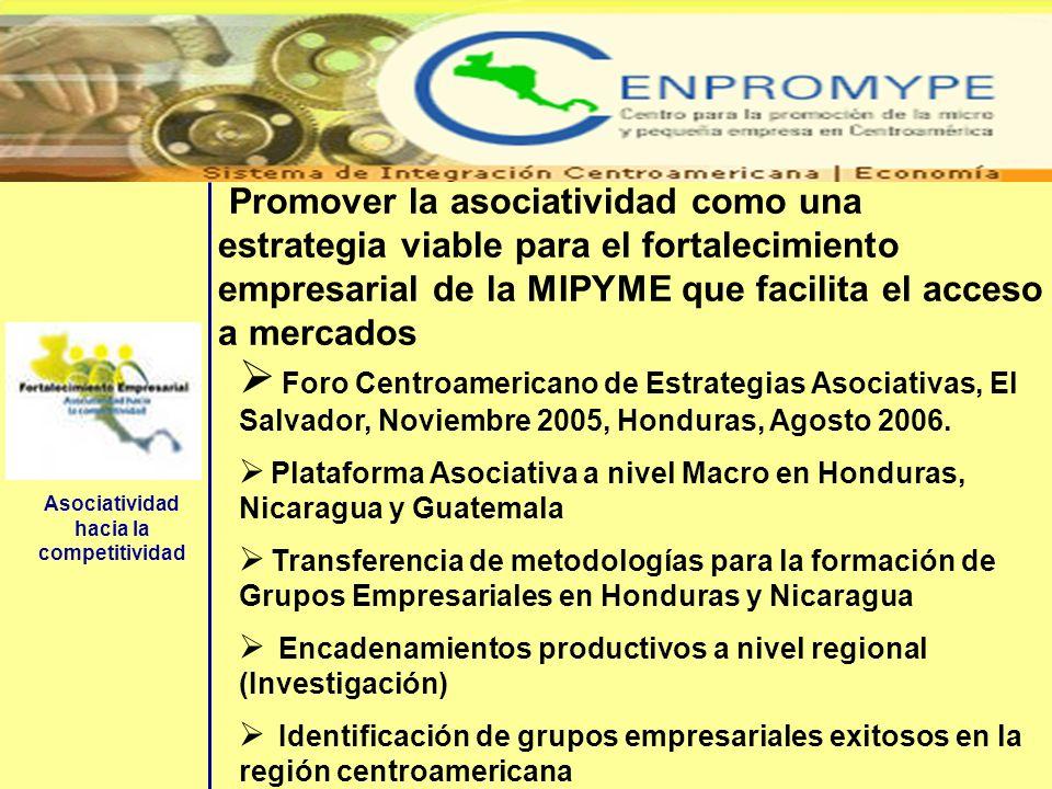 Promover la asociatividad como una estrategia viable para el fortalecimiento empresarial de la MIPYME que facilita el acceso a mercados Foro Centroame