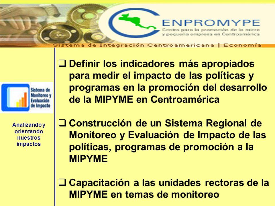 Definir los indicadores más apropiados para medir el impacto de las políticas y programas en la promoción del desarrollo de la MIPYME en Centroamérica