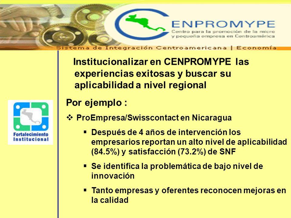 Institucionalizar en CENPROMYPE las experiencias exitosas y buscar su aplicabilidad a nivel regional Por ejemplo : ProEmpresa/Swisscontact en Nicaragu