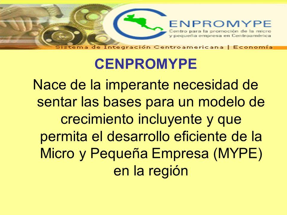 CENPROMYPE Nace de la imperante necesidad de sentar las bases para un modelo de crecimiento incluyente y que permita el desarrollo eficiente de la Mic