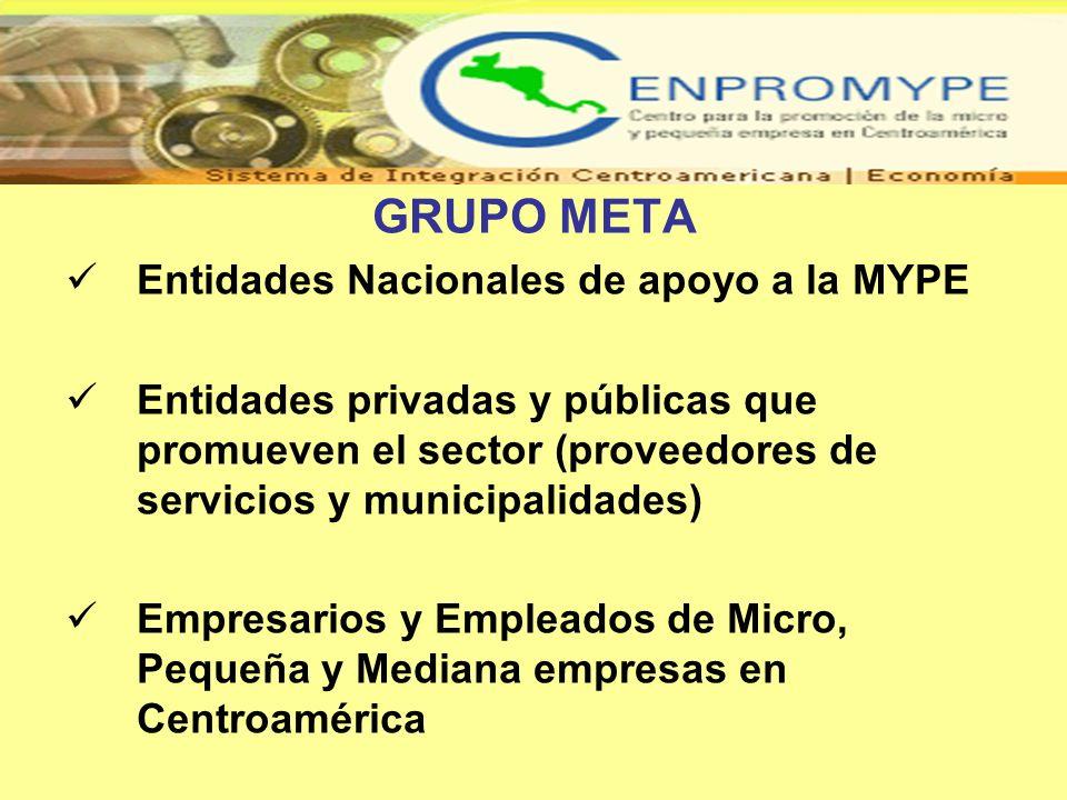 GRUPO META Entidades Nacionales de apoyo a la MYPE Entidades privadas y públicas que promueven el sector (proveedores de servicios y municipalidades)