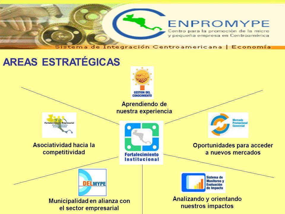 AREAS ESTRATÉGICAS Aprendiendo de nuestra experiencia Oportunidades para acceder a nuevos mercados Asociatividad hacia la competitividad Municipalidad