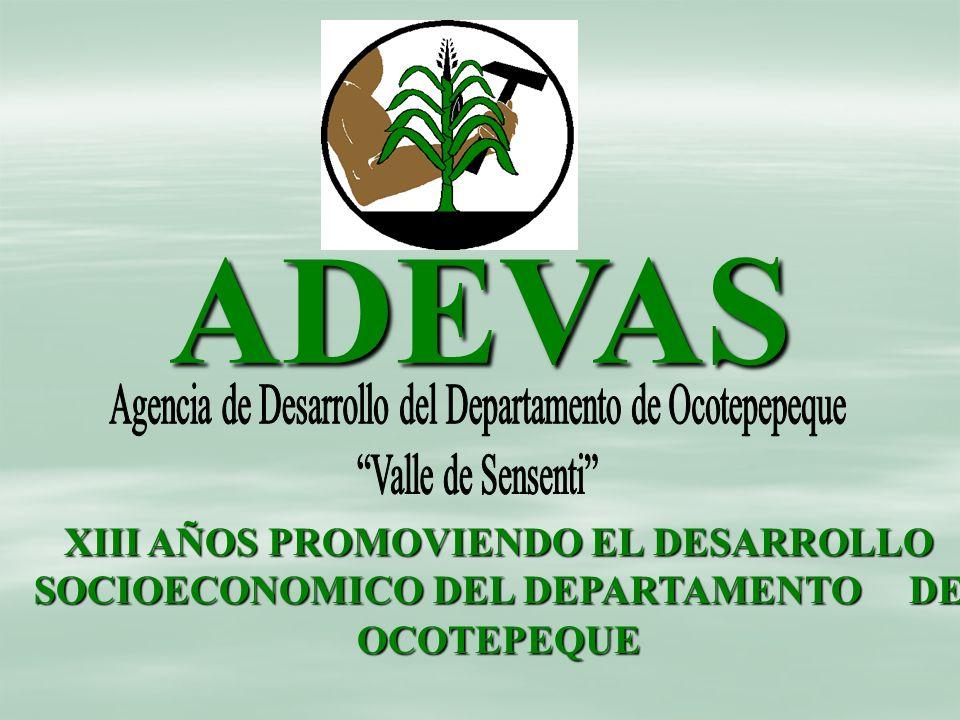 ADEVAS XIII AÑOS PROMOVIENDO EL DESARROLLO SOCIOECONOMICO DEL DEPARTAMENTO DE OCOTEPEQUE