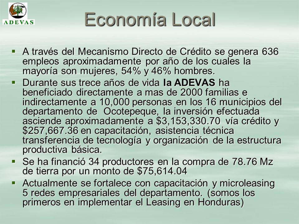 Economía Local A través del Mecanismo Directo de Crédito se genera 636 empleos aproximadamente por año de los cuales la mayoría son mujeres, 54% y 46%