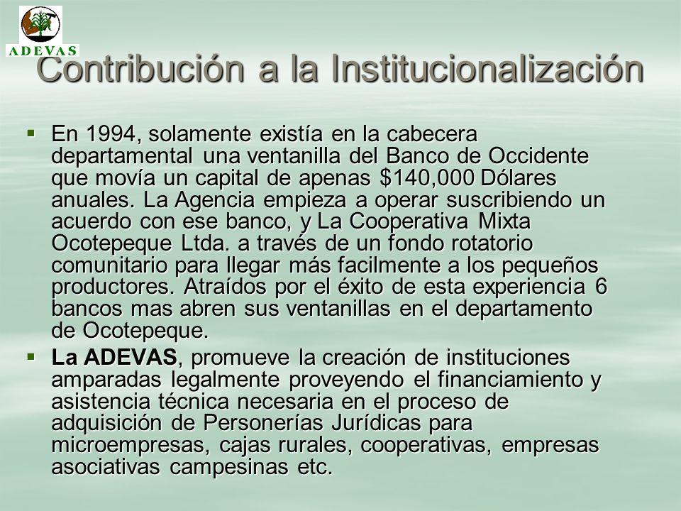Contribución a la Institucionalización En 1994, solamente existía en la cabecera departamental una ventanilla del Banco de Occidente que movía un capi