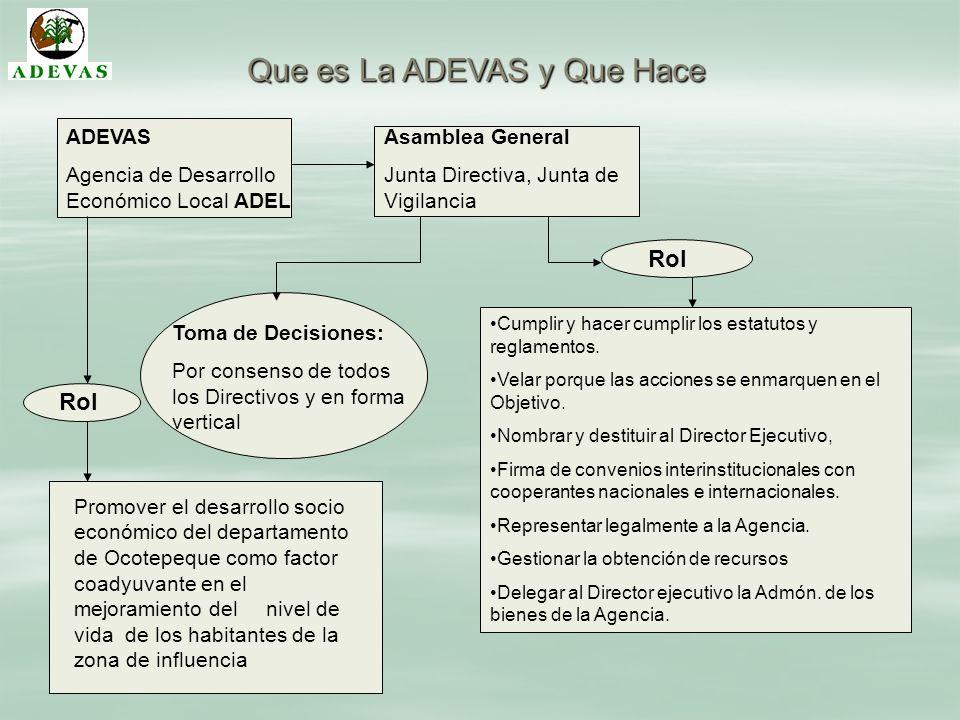 Que es La ADEVAS y Que Hace ADEVAS Agencia de Desarrollo Económico Local ADEL Asamblea General Junta Directiva, Junta de Vigilancia Toma de Decisiones