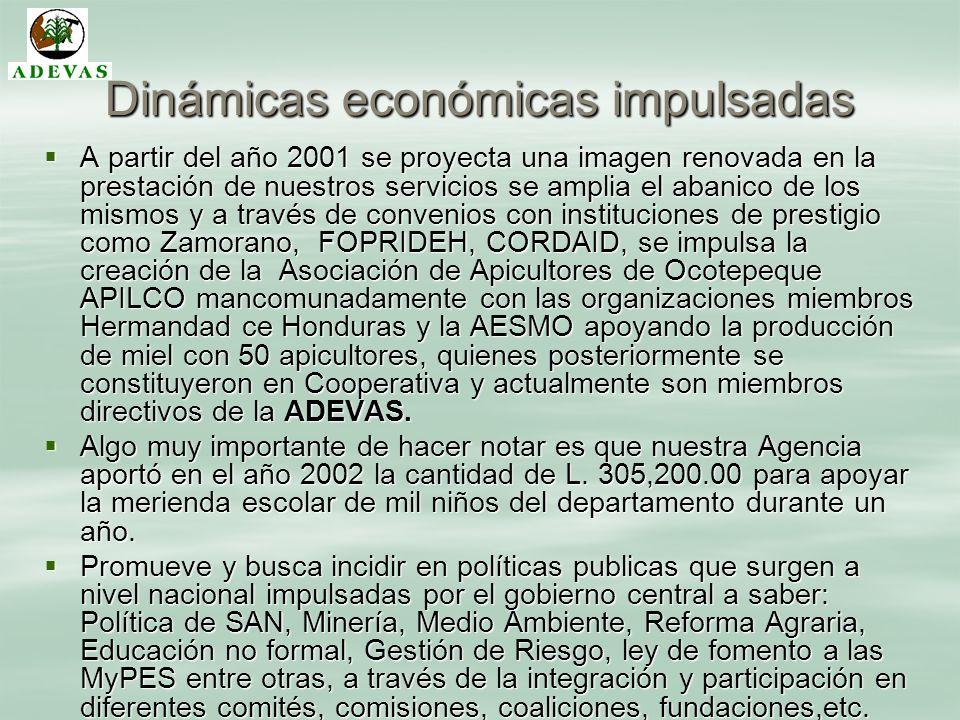 Dinámicas económicas impulsadas A partir del año 2001 se proyecta una imagen renovada en la prestación de nuestros servicios se amplia el abanico de l