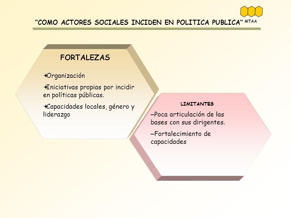 COMO ACTORES SOCIALES INCIDEN EN POLITICA PUBLICA Organización Iniciativas propias por incidir en políticas públicas. Capacidades locales, género y li