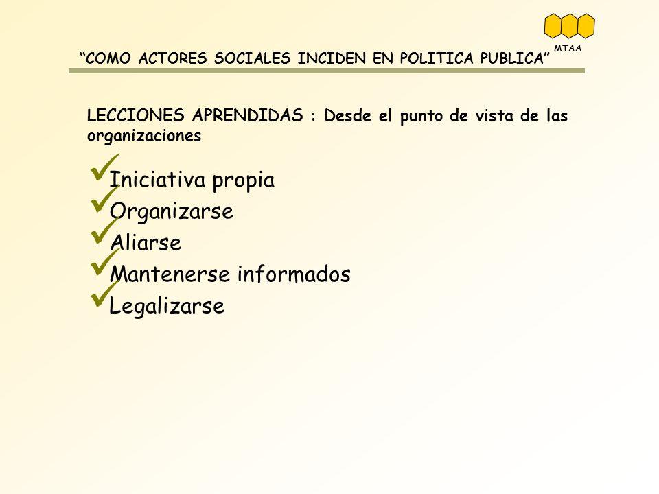 COMO ACTORES SOCIALES INCIDEN EN POLITICA PUBLICA LECCIONES APRENDIDAS : Desde el punto de vista de las organizaciones Iniciativa propia Organizarse A
